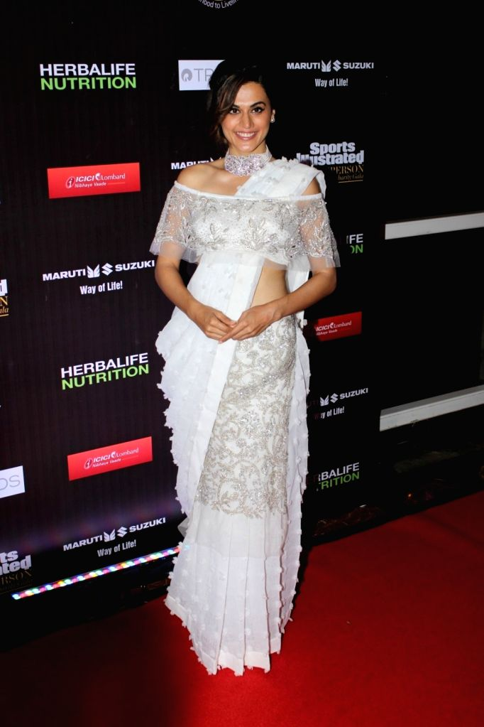 Actress Taapsee Pannu during Sports Illustrated award ceremony in Mumbai, on July 6, 2017. - Taapsee Pannu