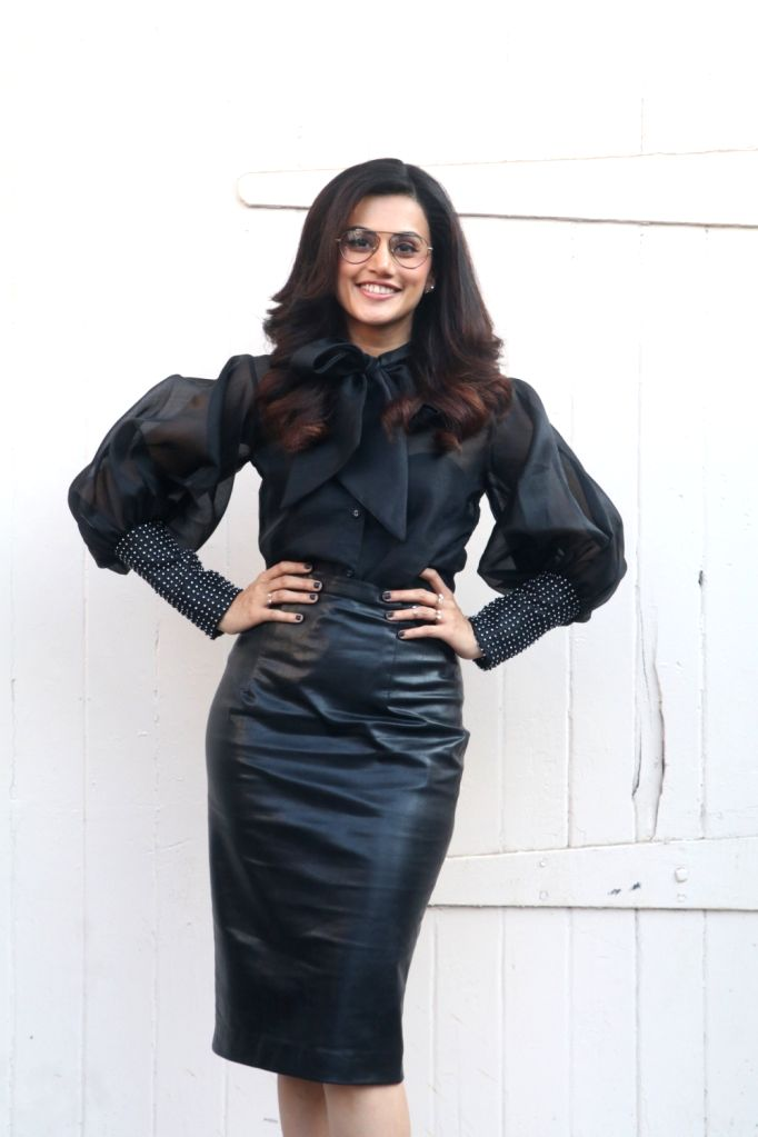 "Actress Taapsee Pannu during the promotion of their upcoming film ""Badla"" in Mumbai on Feb 22, 2019. - Taapsee Pannu"