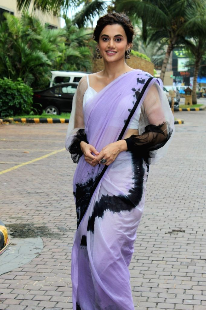 """Actress Taapsee Pannu during the promotions of her upcoming film """"Mission Mangal"""" in Mumbai on Aug 9, 2019. - Taapsee Pannu"""