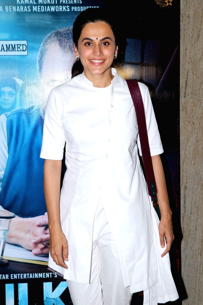 """Actress Taapsee Pannu during the screening of upcoming film """"Mulk"""", in Mumbai on July 28, 2018. - Taapsee Pannu"""