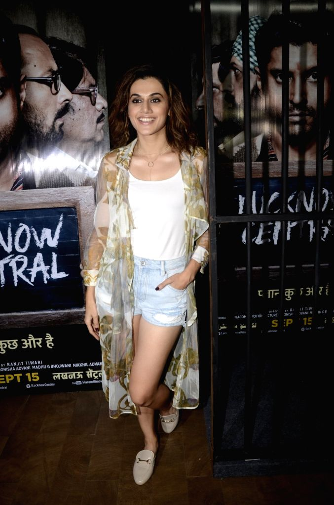 """Actress Taapsee Pannu during the special screening of upcoming film """"Lucknow Central"""" in Mumbai on Sept 10, 2017 - Taapsee Pannu"""