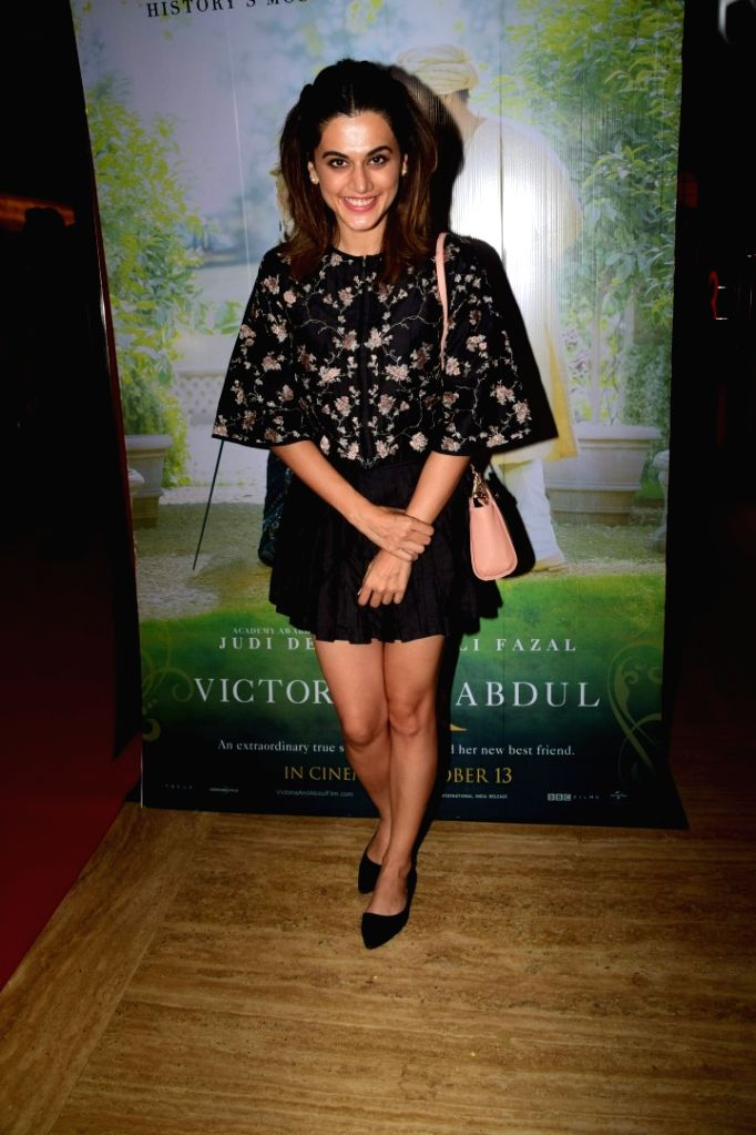 """Actress Taapsee Pannu  during the special screening of film """"Victoria & Abdul"""" in Mumbai on Oct 5, 2017. - Taapsee Pannu"""