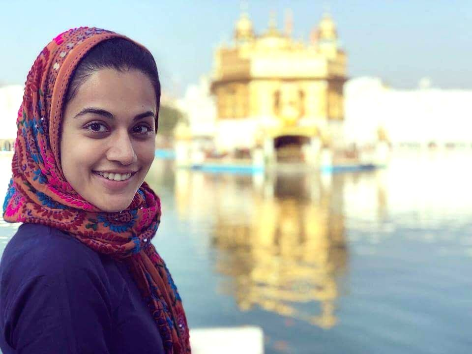 Actress Taapsee Pannu pays obeisance at the Golden Temple in Amritsar on Feb 13, 2018. - Taapsee Pannu