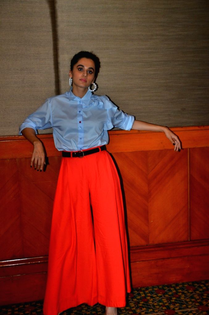Actress Taapsee Pannu seen at a Juhu hotel in Mumbai on Oct 18, 2019. - Taapsee Pannu