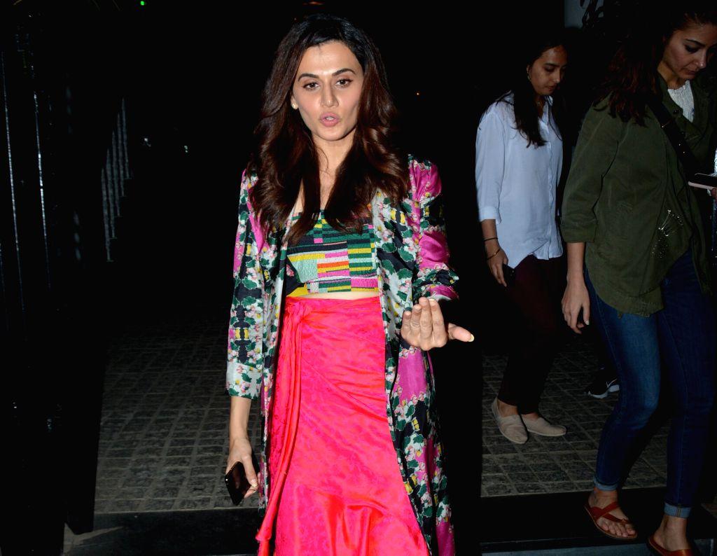 Actress Taapsee Pannu seen at Mumbai's Juhu, on Jan 29, 2019. - Taapsee Pannu