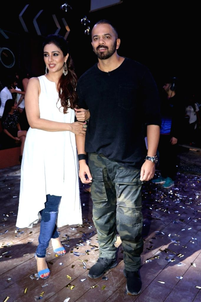 "Actress Tabu and Director Rohit Shetty during the promotion of their upcoming film ""Golmaal Again"" in Mumbai on Sept 19, 2017. - Tabu and Rohit Shetty"