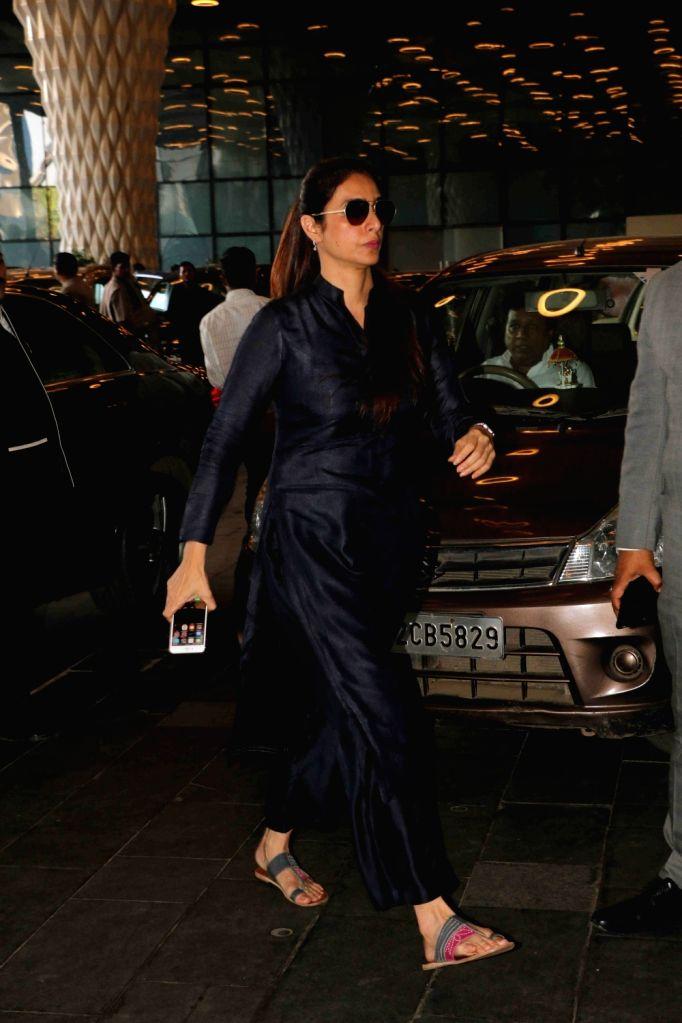 Actress Tabu arrives at a prayer meet organised for late producer Raj Kumar Barjatya in Mumbai, on Feb 23, 2019. - Tabu and Kumar Barjatya