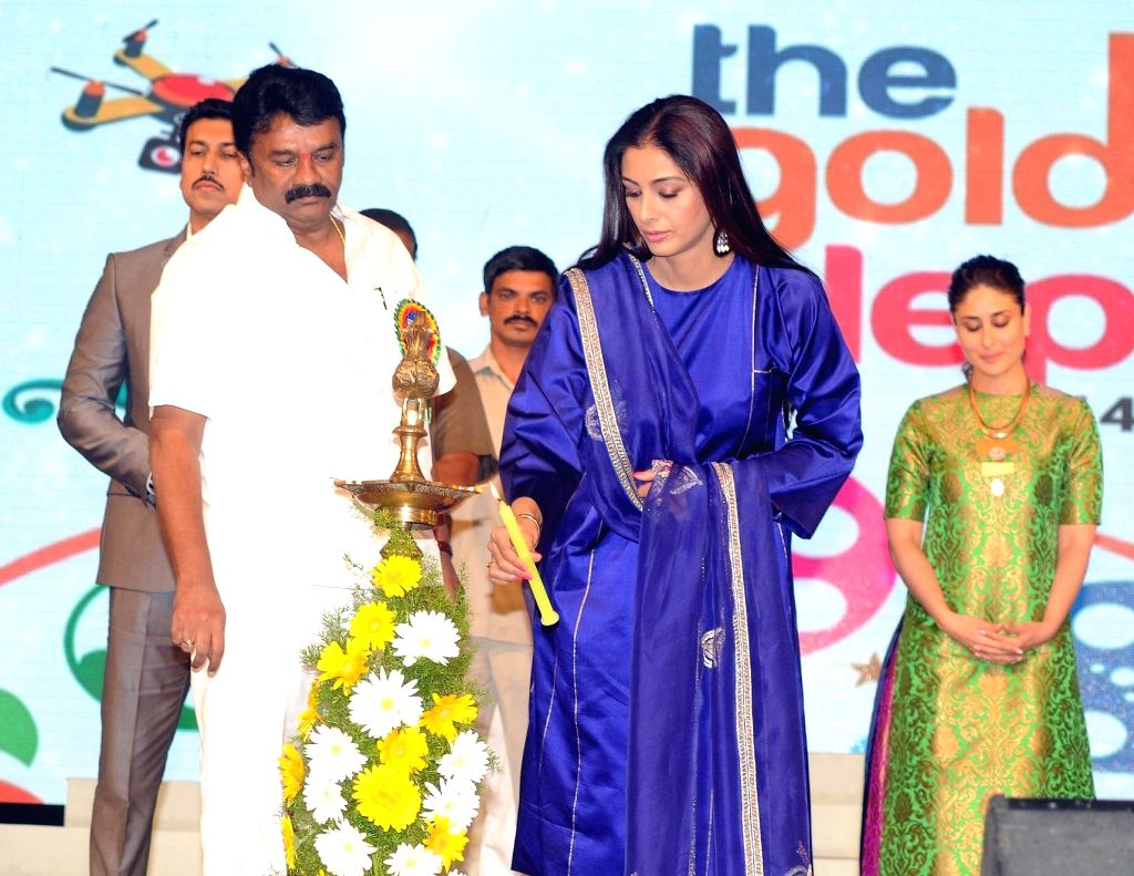 Actress Tabu during the 19th The Golden Elephant International Children`s Film Festival (ICFFI) in Hyderabad on November 15, 2015.