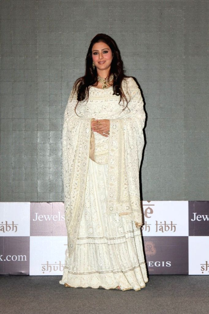 Actress Tabu during the launch of mobile app, `E-shub-labh` by Jewelsouk.com in Mumbai, on Oct 28, 2015.