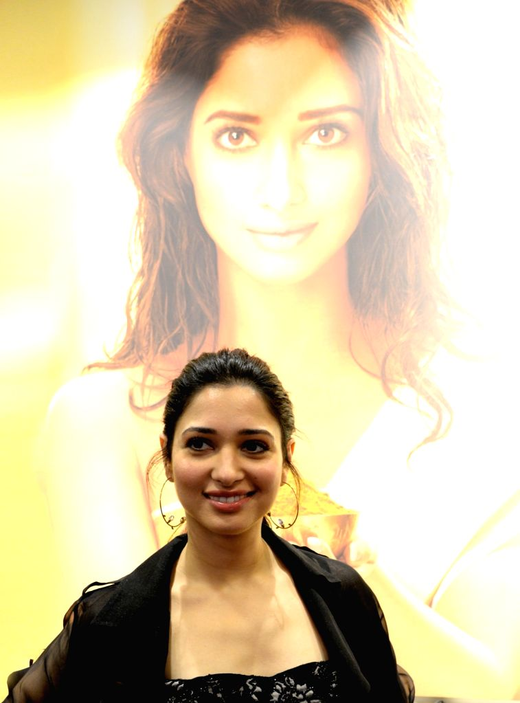 Actress Tamannaah Bhatia at the inauguration of a therapy store in Bengaluru on Sept 9, 2018. - Tamannaah Bhatia