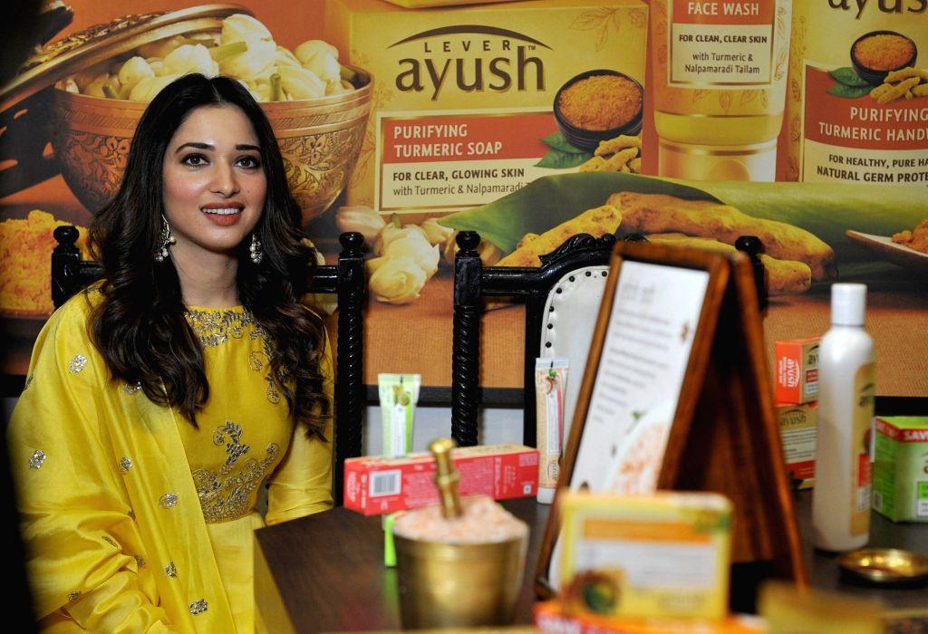 Actress Tamannaah Bhatia during the launch of a store in Bengaluru, on April 24, 2019. - Tamannaah Bhatia