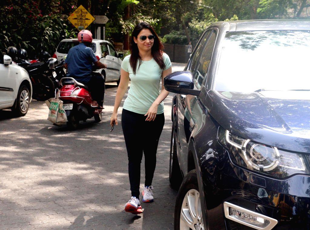 Actress Tamannaah Bhatia seen at Mumbai's Bandra on April 6, 2018. - Tamannaah Bhatia