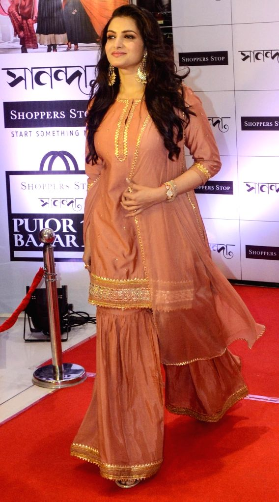 """Actress Tanusree Chakraborty during the inaugural ceremony of """"Shoppers Stop Puja Bazar 2019"""" in Kolkata on Sep 3, 2019. - Tanusree Chakraborty"""