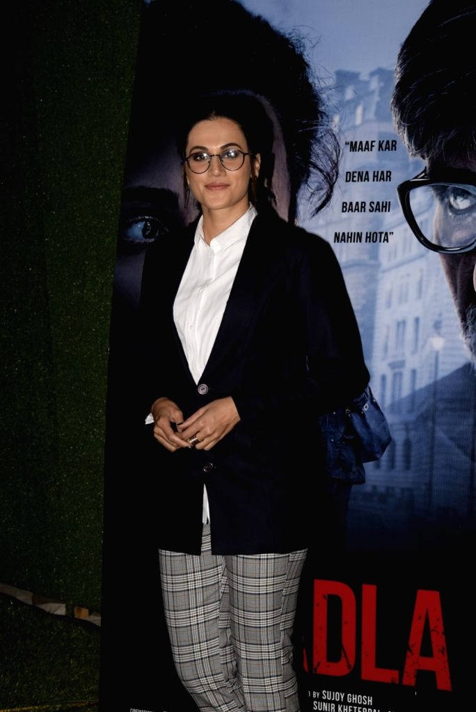 "Actress Tapsee Pannu during a programme organsied to promote her upcoming film ""Badla"" in Mumbai on March 1, 2019. - Tapsee Pannu"