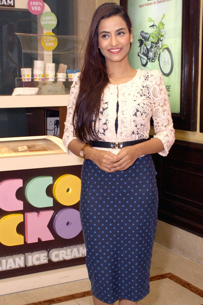Actress Tia Bajpai during the press conference of her film ``Identity Card`` in New Delhi on August 23, 2014. - Tia Bajpai