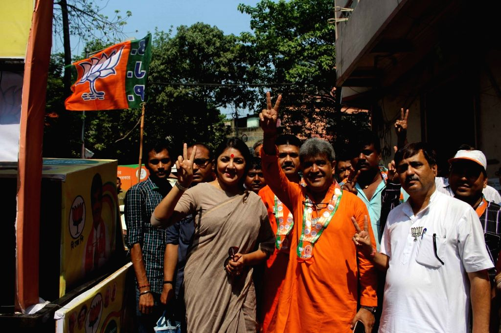 Actress turned BJP leader Locket Chatterjee during an election campaign rally in Kolkata, on April 19, 2016. - Chatterjee