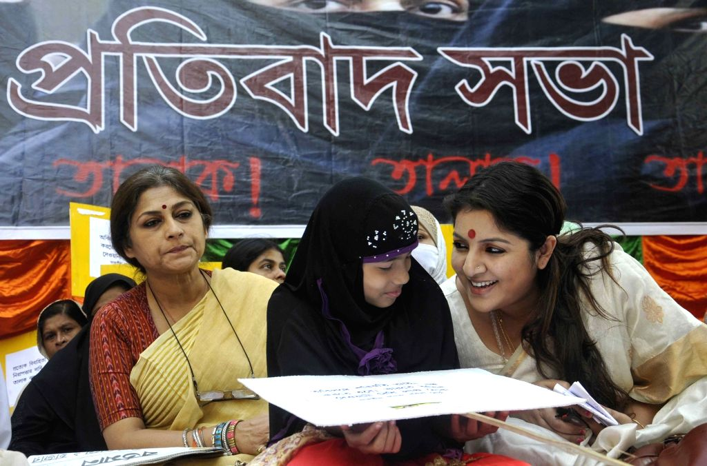 Actress turned BJP leaders Roopa Ganguly and Locket Chatterjee stage a demonstration against the system of triple talaq in Kolkata on Nov. 18, 2016. - Chatterjee