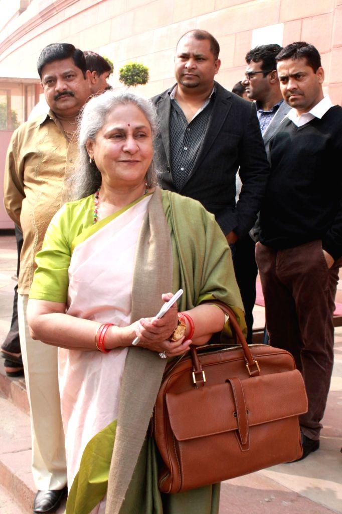 Actress turned politician Jaya Bachchan at Parliament in New Delhi on Nov 30, 2016. - Jaya Bachchan