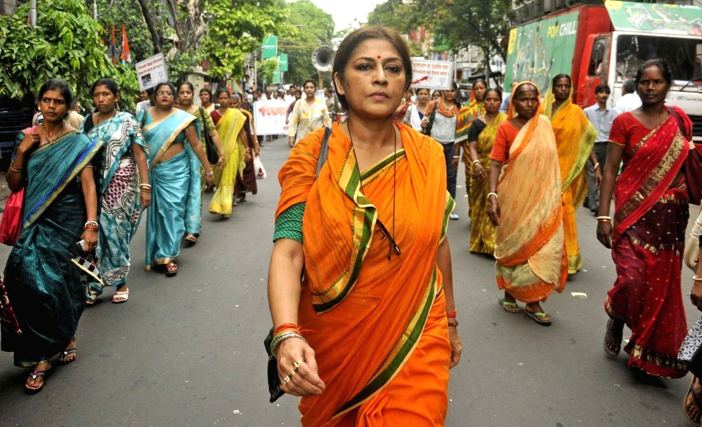 Actress-turned politician Roopa Ganguly participates in a protest rally against attack on minorities in Bangladesh; in Kolkata on July 1, 2016.