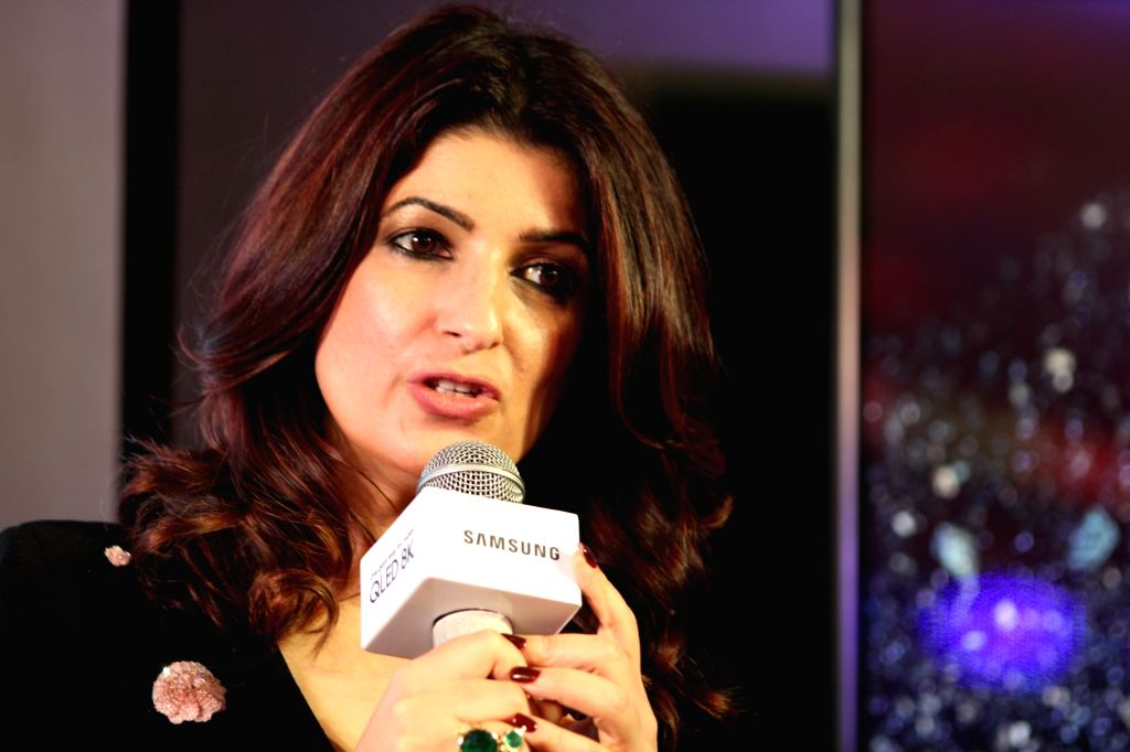 Actress Twinkle Khanna addresses at the launch of Samsung QLED 8K TV, in New Delhi on June 4, 2019. - Twinkle Khanna