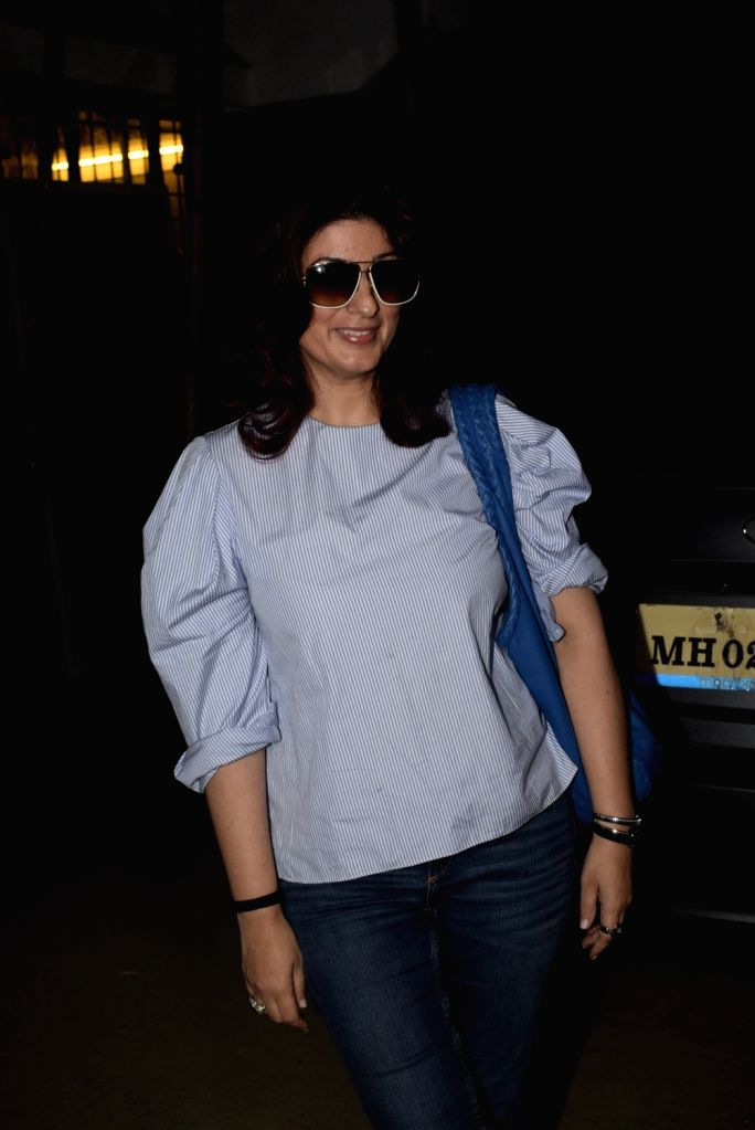 Actress Twinkle Khanna seen at Mumbai's Juhu, on Feb 5, 2019. - Twinkle Khanna