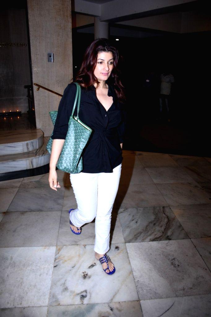 Actress Twinkle Khanna seen at the residence of fashion designer Manish Malhotra in Mumbai on Nov 27, 2019. - Twinkle Khanna and Manish Malhotra