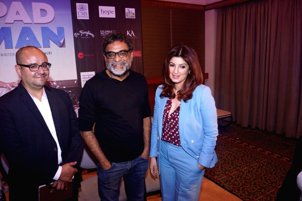 Actress Twinkle Khanna with filmmaker R Balki and Economist Victor Orozco during a programme in Mumbai on Feb 14, 2018. - Twinkle Khanna