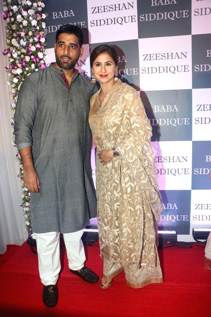Actress Urmila Matondkar and her husband Mohsin Akhtar Mir at Congress leader Baba Siddique's Iftar party in Mumbai, on June 2, 2019. - Urmila Matondkar
