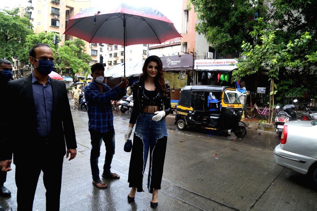Actress Urvashi Rautela arrives to attend her first public event post lockdown, the launch of a hand sanitizer brand in Mumbai on July 2, 2020. - Urvashi Rautela
