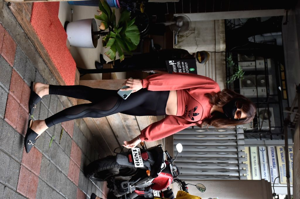 Actress Urvashi Rautela seen at a salon in Mumbai's Bandra on Aug 11, 2020. - Urvashi Rautela