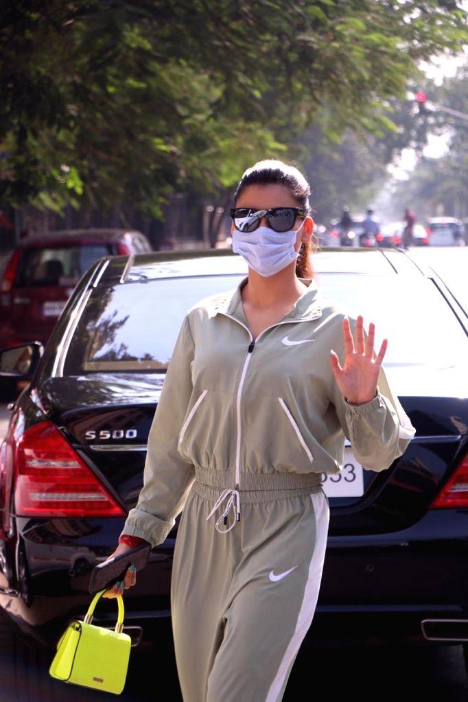 Actress Urvashi Rautela seen at Juhu in Mumbai on Dec 5, 2020. - Urvashi Rautela
