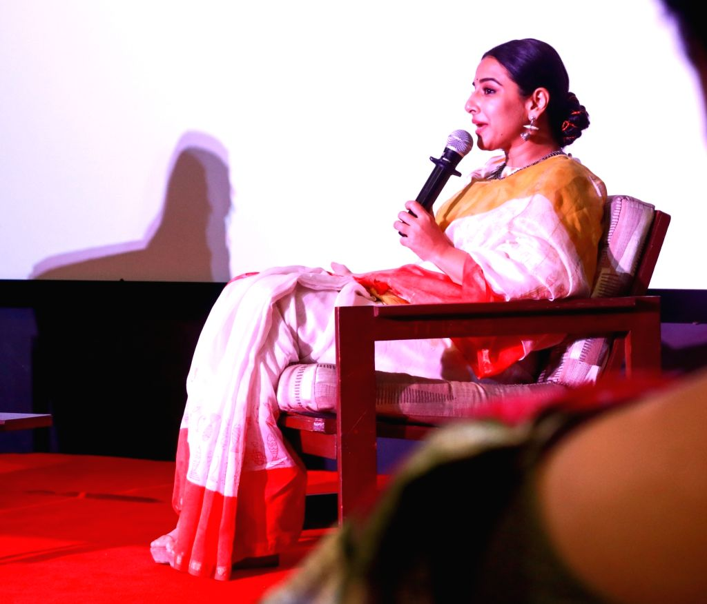 Actress Vidya Balan addresses at Finding Mother Conference at St Xaviers College in Mumbai on Feb 12, 2020. - Vidya Balan
