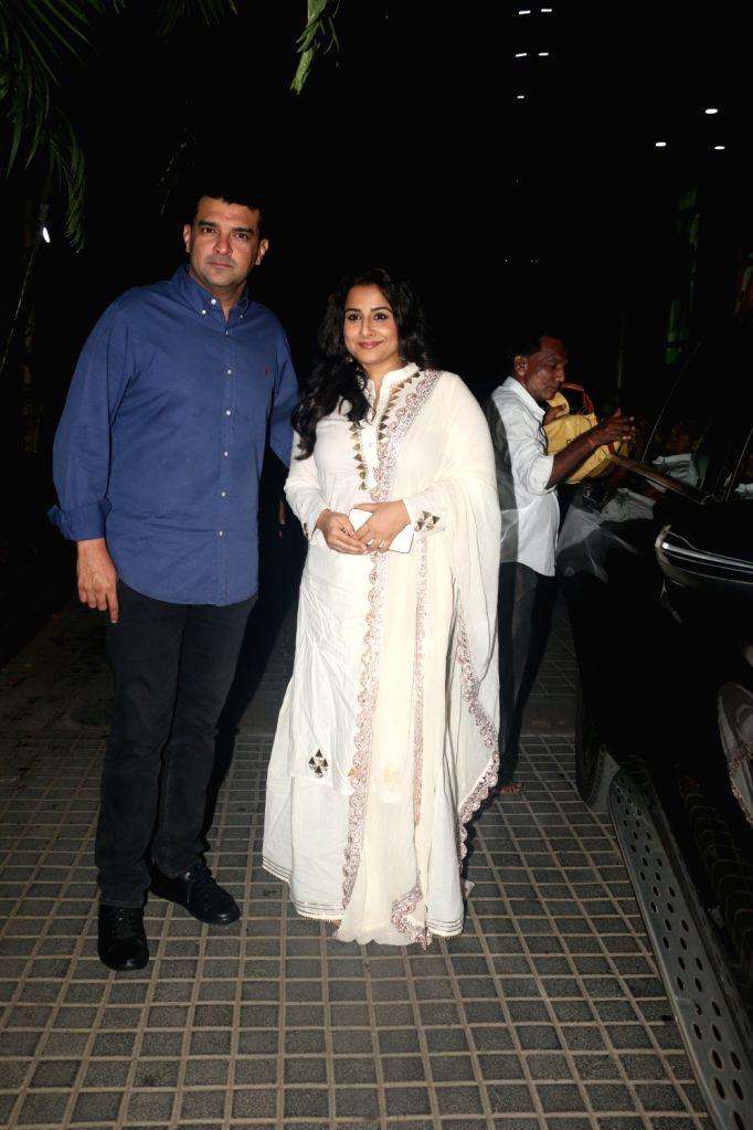 """Actress Vidya Balan and her husband Siddharth Roy Kapur at the screening of the upcoming film """"India's Most Wanted"""" in Mumbai, on May 22, 2019. - Vidya Balan and Siddharth Roy Kapur"""