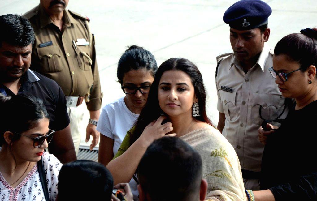 Actress Vidya Balan arrives to attend a programme in Patna, on March 15, 2019. - Vidya Balan