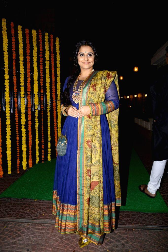 Actress Vidya Balan arrives to attend Ekta Kapoor's Diwali party in Mumbai on Oct 29, 2016. - Vidya Balan and Ekta Kapoor