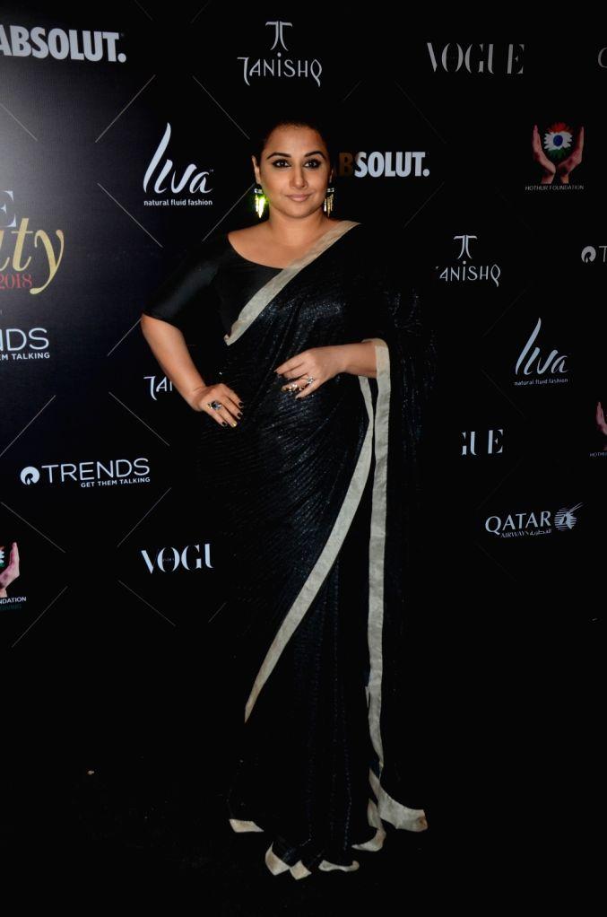 "Actress Vidya Balan at the red carpet of ""Vogue Beauty Awards"" in Mumbai on July 31, 2018. - Vidya Balan"