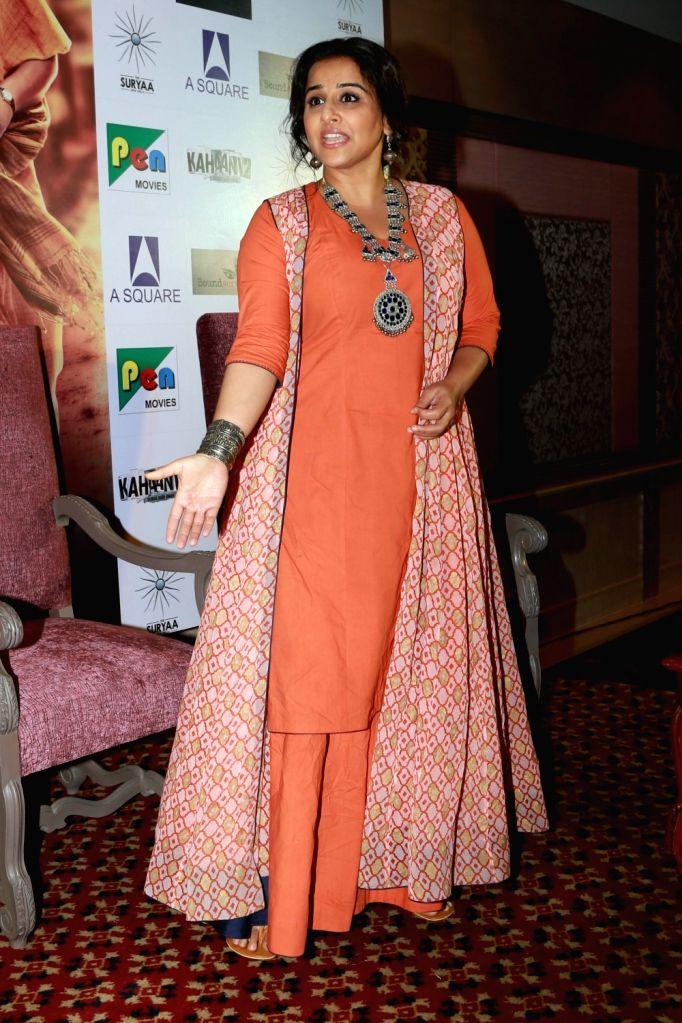 "Actress Vidya Balan during a press conference regarding her upcoming film ""Kahaani 2"" in New Delhi, on Nov 29, 2016. - Vidya Balan"