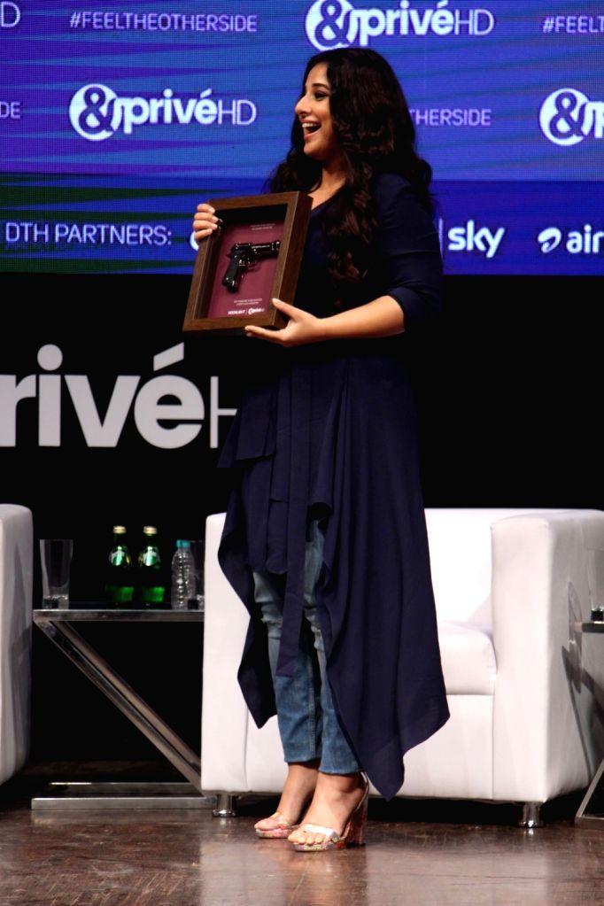 Actress Vidya Balan during the launch of new channel '& Prive HD' in Mumbai on Sept 19, 2017. - Vidya Balan