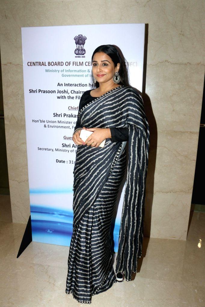 Actress Vidya Balan during the launch of the new logo and certificate design of Central Board of Film Certification (CBFC) in Mumbai on Sept 1, 2019. - Vidya Balan