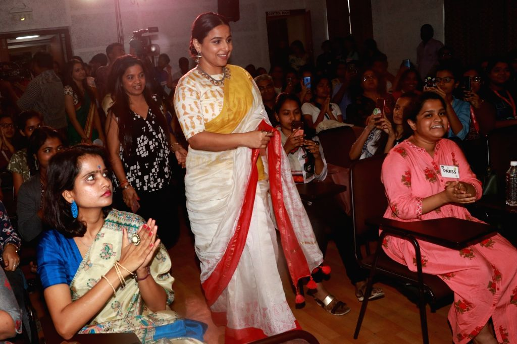 Actress Vidya Balan interacts with the students at Finding Mother Conference at St Xaviers College in Mumbai on Feb 12, 2020. - Vidya Balan