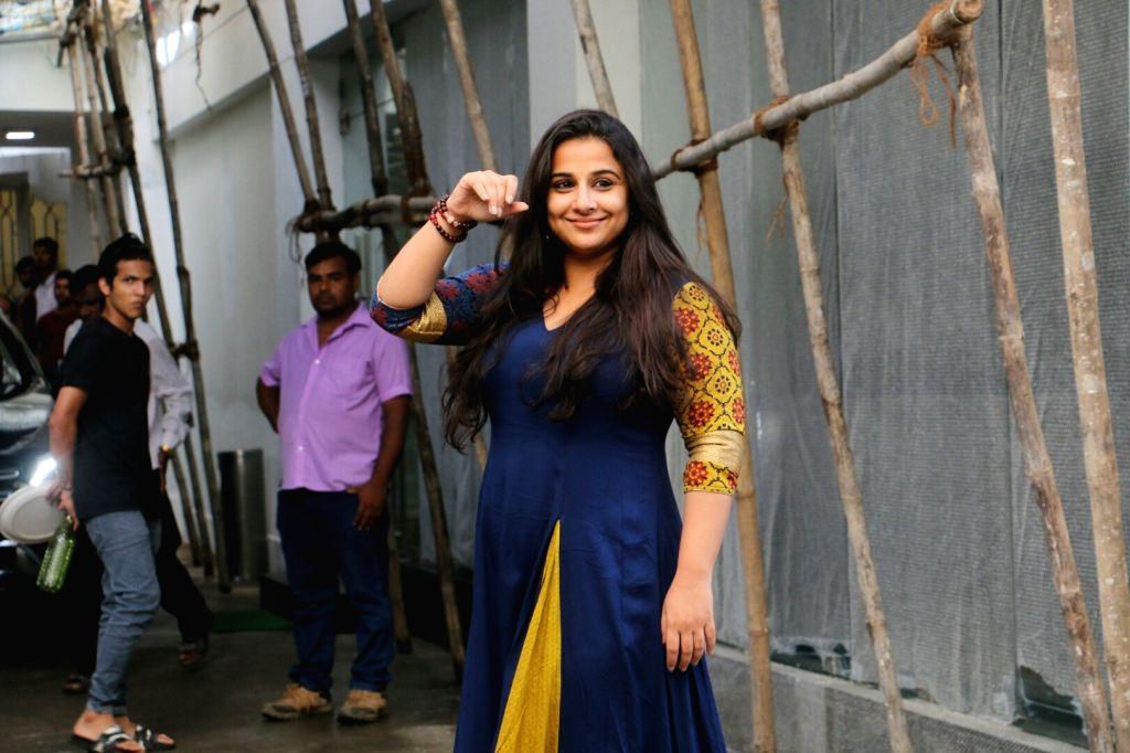 Actress Vidya Balan seen at Sunny Super Sound Recording studio, in Mumbai on Aug 11, 2018. - Vidya Balan