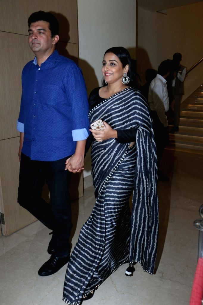 Actress Vidya Balan with her husband Siddharth Roy Kapur during the launch of the new logo and certificate design of Central Board of Film Certification (CBFC) in Mumbai on Sept 1, 2019. - Vidya Balan and Siddharth Roy Kapur