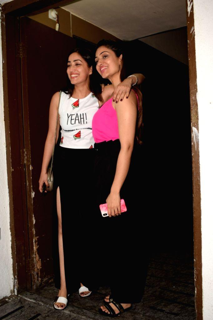 Actress Yami Gautam along with her sister Surilie Gautam seen at a cinema theater in Mumbai on May 1, 2018. - Yami Gautam