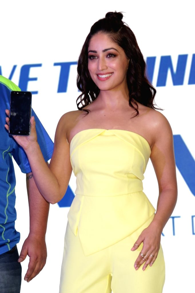 "Actress Yami Gautam at the launch of iVVO's new smart phone ""Britzo"", in New Delhi on April 17, 2018. - Yami Gautam"