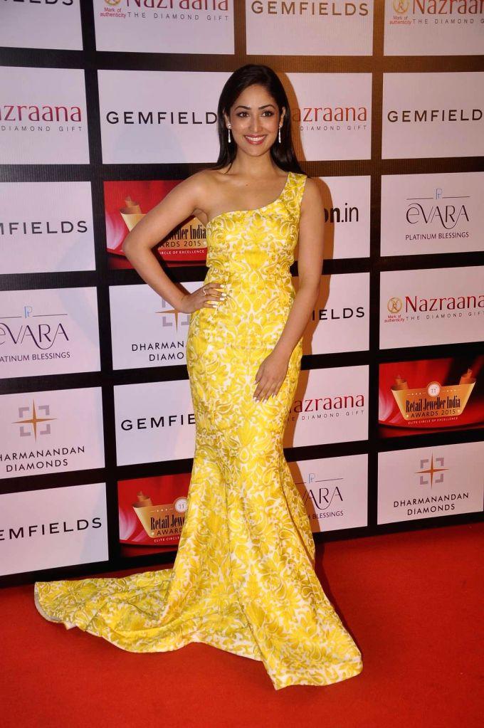Actress Yami Gautam during the Gemfields and Nazraana Retail Jeweller India Awards 2015, in Mumbai, 2015. - Yami Gautam