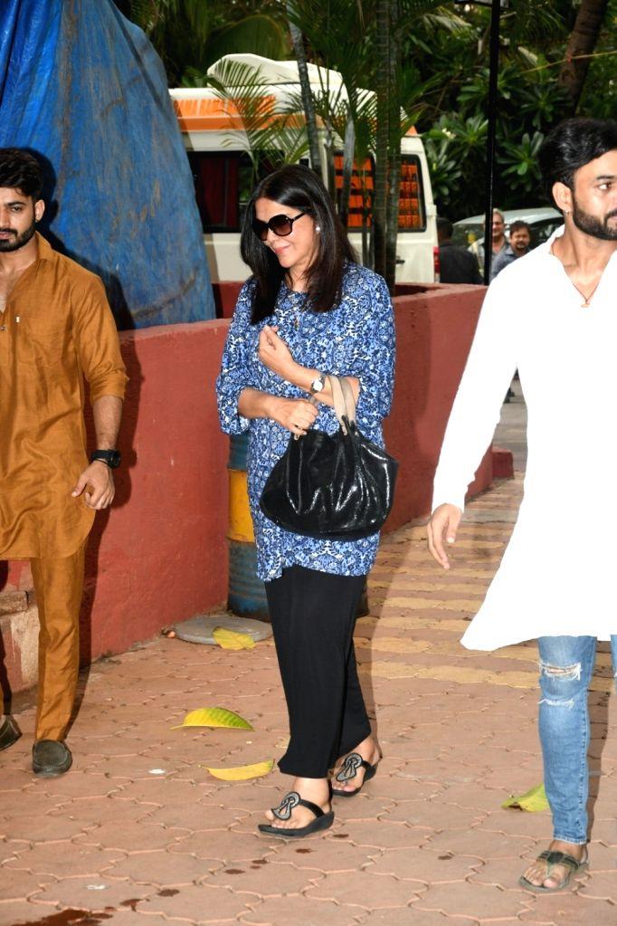 Actress Zeenat Aman at a prayer meet organised for director Anil Sharma's mother in Mumbai on June 8, 2018. - Zeenat Aman and Sharma