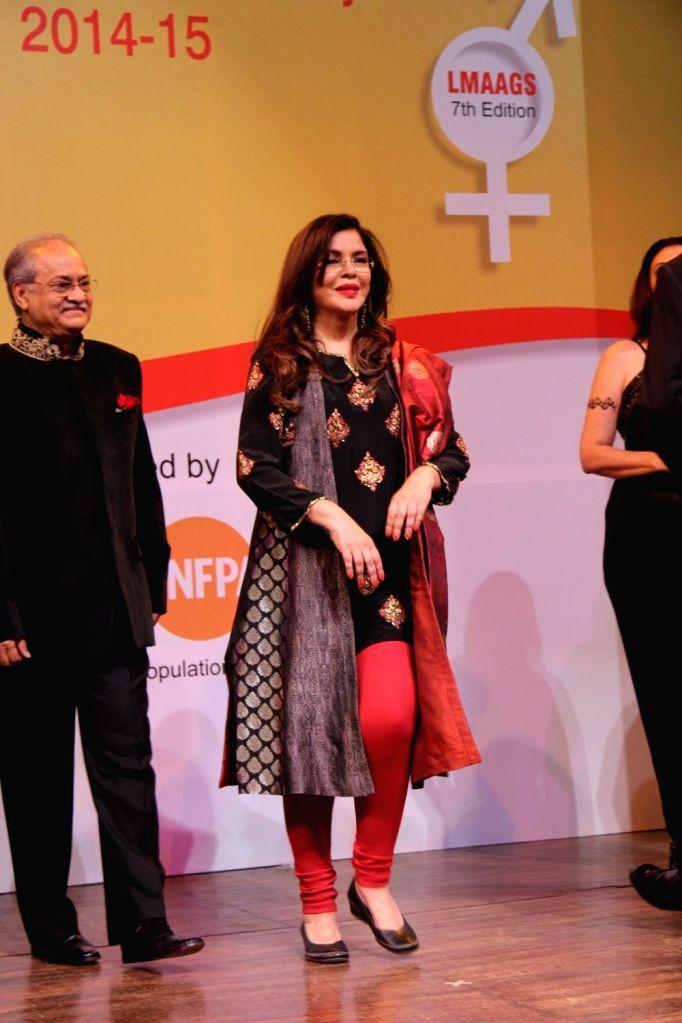 Actress Zeenat Aman during the 7th National Laadli Media and Advertising Awards for Gender Sensitivity 2014-2015,  in Mumbai, on April 13, 2016. - Zeenat Aman