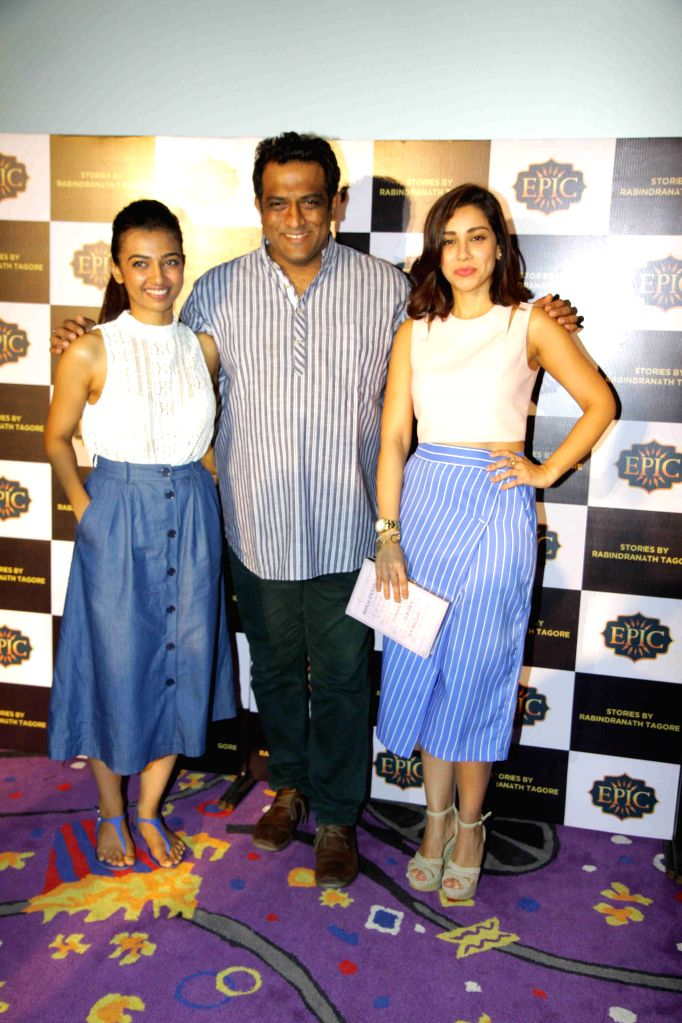 Actresses Amrita Puri, Radhika Apte and filmmaker Anurag Basu during the launch of Epic Channel`s show `Stories by Rabindranath Tagore` directed by Anurag Basu, in Mumbai on June 25, 2015. - Amrita Puri, Radhika Apte and Anurag Basu