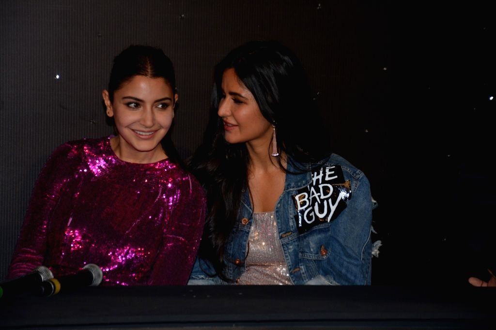 "Actresses Anushka Sharma and Katrina Kaif at the trailer launch of their upcoming film ""Zero"" in Mumbai on Nov 2, 2018. - Anushka Sharma and Katrina Kaif"