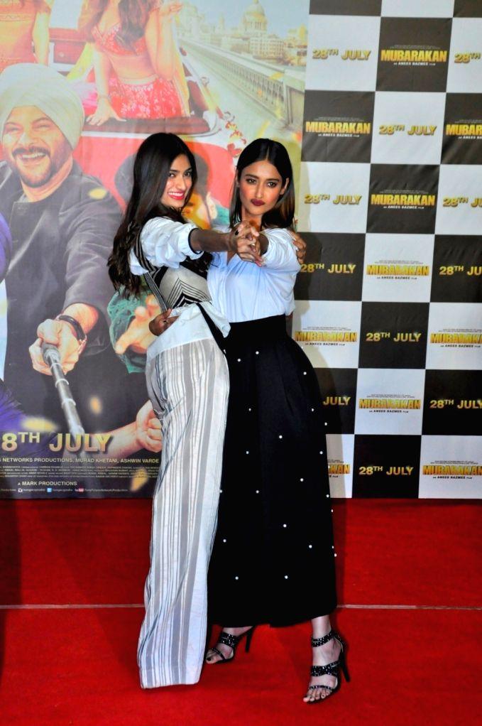 Actresses Athiya Shetty and Ileana D'cruz at the trailer launch of upcoming film 'Mubarakan' in Mumbai on June 20, 2017. - Athiya Shetty and Ileana D